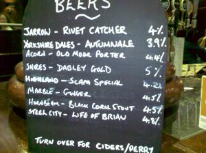 Beer List - Baccus 25 10 2009