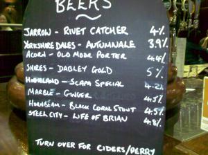 Beer List - Baccus 25 10 2009